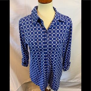 Charter Club Button Down Top With 3/4 Sleeves #45